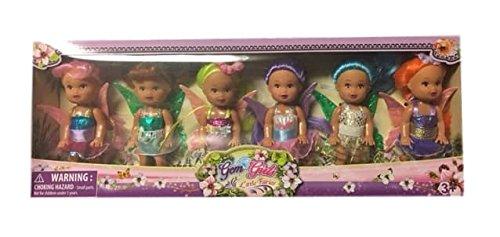 Mini Fairy Angels Collection (Pink to Orange) - 6 Gem Girls Little Fairies Angel Dolls
