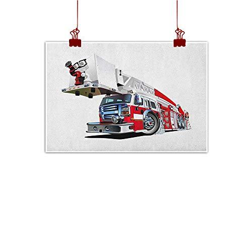 Sunset glow Wall Art Painting Print Truck,Firetruck Speeding to Danger Illustration Emergency Services Theme 911 Cartoon, Blue Grey Red 36