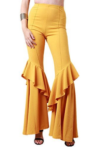 COCOLEGGINGS Ladies High Rise Frills Solid Ruffle Flared Trousers Ginger L