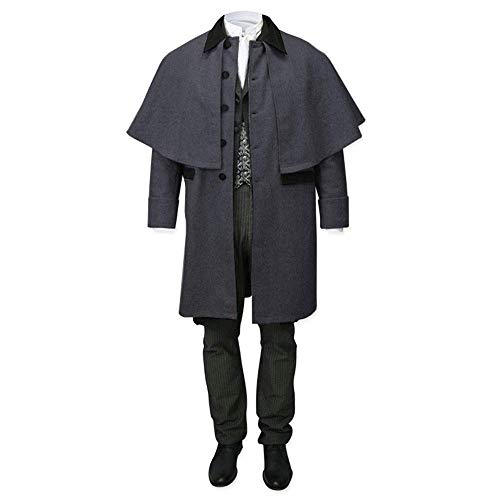 Taoliyuan Mens Attached Cape Costume Victorian Trench Inverness Button Down Capecoat Cosplay with Pockets Dark Gray