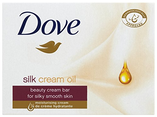 Dove Silk Cream Oil Beauty Cream Bar Soap, 3.5 Oz/100 Gr (Pack of 12 Bars) -