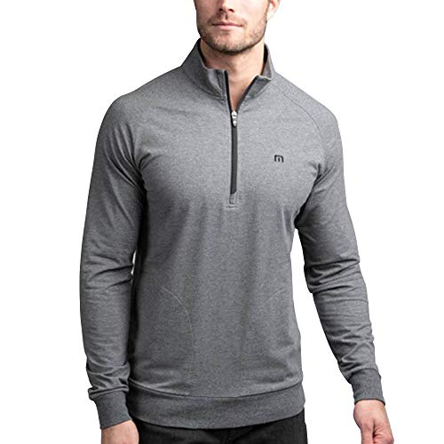 Shadow Half Zip Pullover - TravisMathew Men's Zachary Heather Dark Shadow Medium