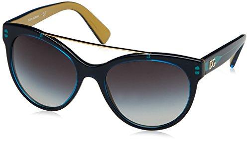 D&G Dolce & Gabbana Women's 0DG4280 Round Sunglasses, Top Petroleum On Gold, 57 - Bar Brow Dolce