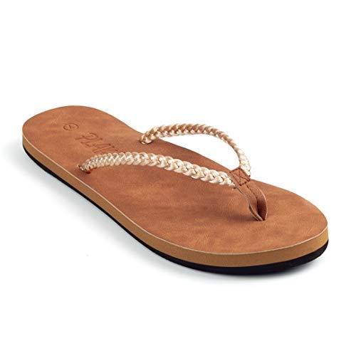 Plaka Flip Flops for Women Golden Mount Size 10 Coral