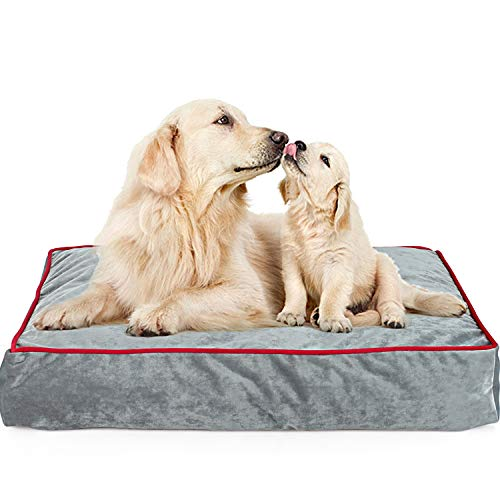 Waterproof Memory Foam Pet Bed Mattress for Dogs and Cats with Removable Machine Washable Cover,Non-Slip Cover,for Home,Car,Outdoors, Grey Color 34LX 22W X4H in.