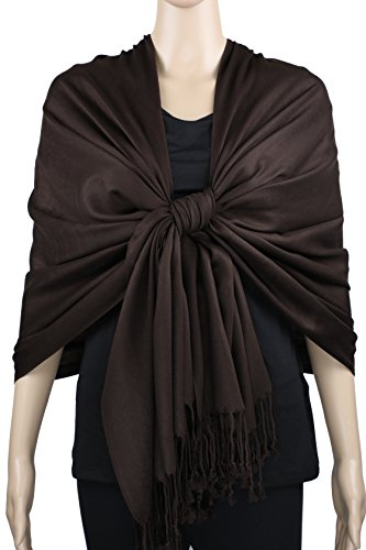 Dark Brown Wrap - Achillea Women's Super Soft Luxurious Pashmina Shawl Wrap Scarf Stole in Solid Colors (Dark Coffee)