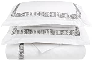 Impressions 100% Cotton Greek Key Embroidery, 3-Piece Full/Queen Kendell Duvet Cover Set, White/Grey