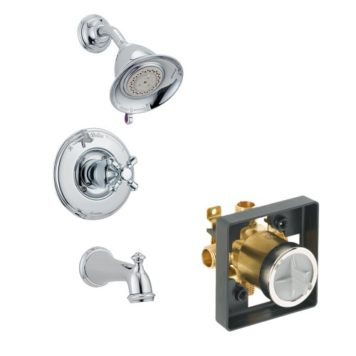 Delta Faucet KTSDVI-T14455-H795-CH-2 Victorian Tub/Shower Kit Pressure-Balance Single-Function Cartridge with Metal Cross Handle, Chrome