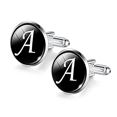 Jiayiqi Men Alphabet Cufflinks Single Initial Letter Business Cuff Links A-Z