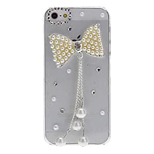 ZXSPACE Beautiful Pearl Bowknot Pendant Covered Transparent Hard Case for iPhone 5/5S