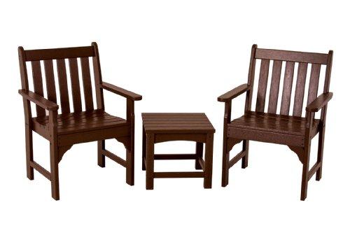 POLYWOOD PWS142 1 MA Vineyard 3 Piece Garden Chair Set, Mahogany