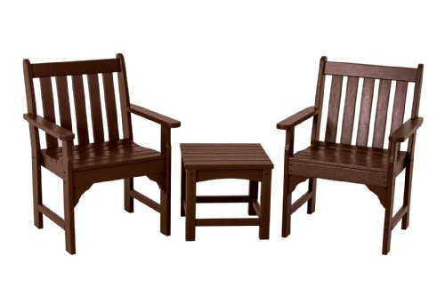 POLYWOOD PWS142-1-MA Vineyard 3-Piece Garden Chair Set, Mahogany