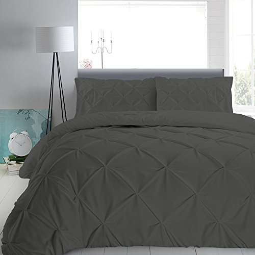 Pinch Pleated Duvet Cover Set With Zipper & Corner Ties 100%