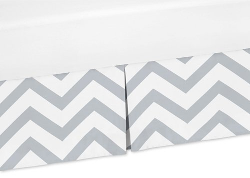 Sweet Jojo Designs Grey and White Zig Zag Crib Bed Skirt Dust Ruffle for Chevron Collection Bedding Sets