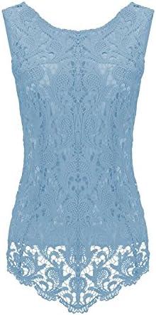tocoss (TM) nuevas mujeres de encaje blanco y Plus Size ganchillo encaje Tops mujeres blusa Renda sin mangas camisas [cielo Azul XL]: Amazon.es: Hogar