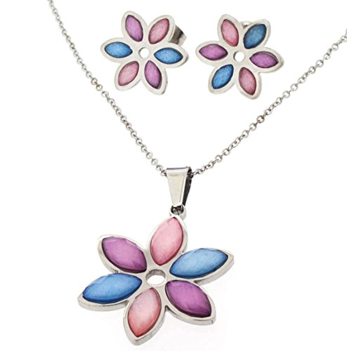 Ben and Jonah Stainless Steel Lady's Earring Pendant Set with Fine Link Chain - Multi-Colored Flower Petals (Purple, Blue and Pink) ()