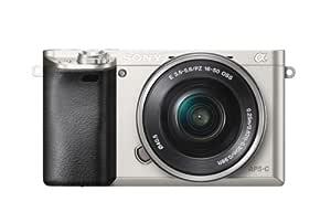Sony Alpha 6000 systemkamera (24 megapixel, 7,5 cm (3 tum) LCD-skärm, Exmor APS-C sensor, Full-HD, High Speed Hybrid AF) inkl. SEL-P1650 objektiv silver