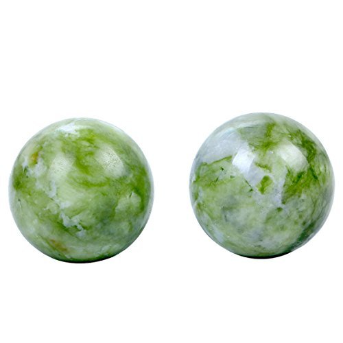 2'' Green Marble Baoding Health Stress Exercise Balls In Natural Stone Color BS140 (box)
