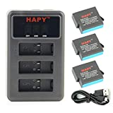 HAPY 3 Pack Rechargeable Battery and 3 Battery Channel Travel USB Charger for gopro HERO 6 - HERO6 Black - HERO 5 - HERO5 Black - HERO (2018) - AHDBT-501 - (Fully compatible with original camera)