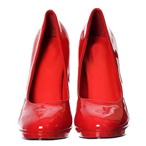 Onlineshoe Herren Damen Dragqueen Crossdresser High-Heel Gerundet Gericht Schuhe Größe Rot Lack
