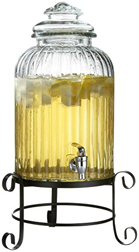 Style Setter Springfield 210919-RB 3 Gallon Glass Beverage Drink Dispenser with Metal Stand & Glass Lid 21