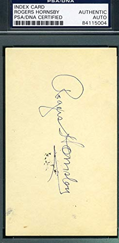 ROGERS HORNSBY PSA DNA Mint Autograph 3x5 Signed Index Card