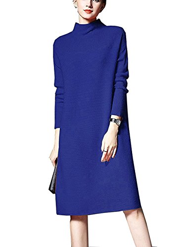 NUTEXROL Women's Turtleneck Ribbed Long Sleeve Knit Sweater Stretchable Dresses(Blue,M)