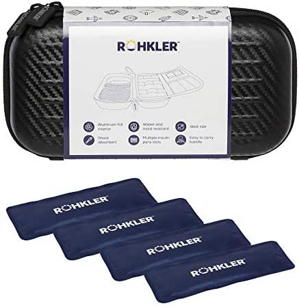 ROHKLER Insulin Cooler Travel Case - Insulated - 6mm EVA - 4 Ice Packs - Removable Organizer - Diabetic Supplies and Accessories - Medical Cooler Bag - Premium Lightweight Medical Travel Carrying Case