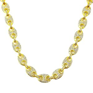 """HH Bling Empire Mens Iced Out Hip Hop Silver Gold Faux Diamond Paved Puffed Marine Linked Chain Necklace 24"""""""