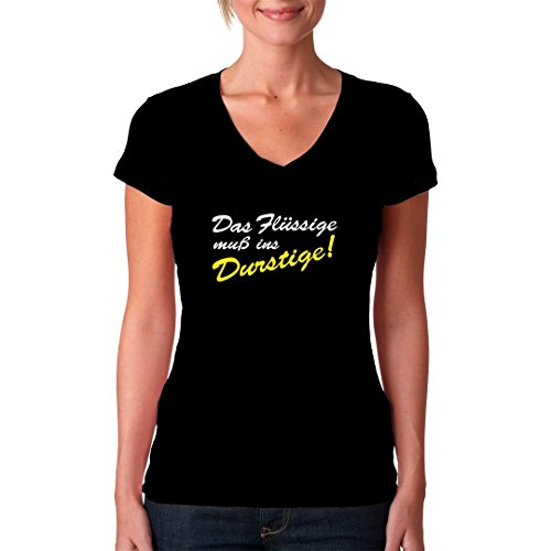 Fun Sprüche Girlie V-Neck Shirt - Das Flüssige ins Durstige by Im-Shirt Schwarz