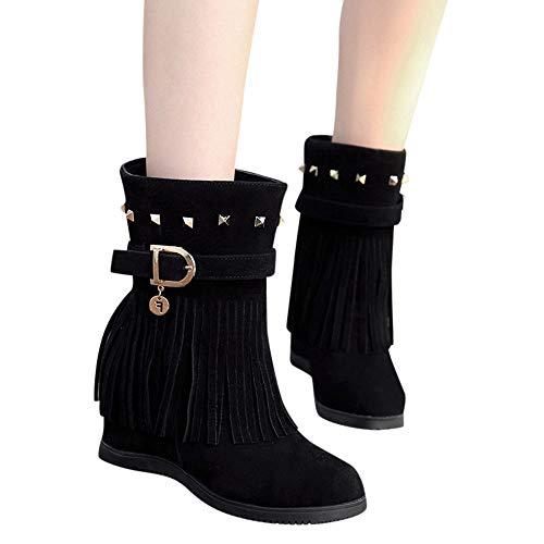 Zapatos Cuña Mayor Negro Borlas Paez De Tacon Bailarinas ALIKEEY Botas EspañA Casual Mujeres Plataforma Moda Plataforma tqAXZX