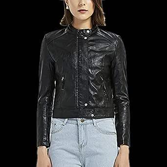 DISSA PP0906 Women Faux Leather Cropped Jacket Slim Coat Leather Jacket,Black,S,UK 8