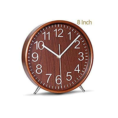 KAMEISHI 8 Inch Wood Table Clocks Battery Operated For Living room Bedroom Bedside Kitchen Round Decor Table Clock Silent Non Ticking Quiet Sweep Second Hand Quartz Large Numerals KSZ822 Brown - ✔. It can be placed anywhere so easily, without any tools, It's in the bedroom, the desk, the bedside cabinet, the cabinet, the TV cabinet, the wine cabinet, the corner cabinet, the bookcase, the kitchen, and of course, it can be hung on the wall, and it can be used in many places, When it appears in front of you, it gives you more surprises than it does in the photos, and it's really great. ✔. Wooden frame with complete environmental protection,beautiful appearance and high quality, wood numerals dial Aluminum alloy pointer.Glass lens, makes it easy to clean and keeps dust away from dial and to see more clearly and bright ✔. Totally silent clock, the Quartz Sweep movement uses the Strong quartz core, Movement guarantees accurate time and absolutely silent environment,The Clock dial uses printing technology, never discoloration - clocks, bedroom-decor, bedroom - 41Kr1eau1dL. SS400  -