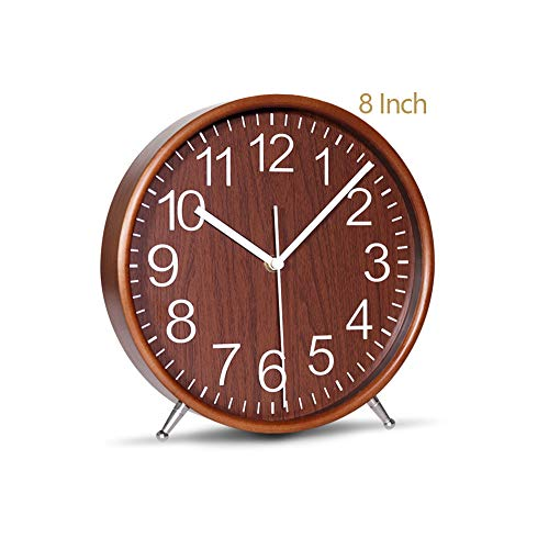 KAMEISHI 8 Inch Wood Table Clocks Battery Operated For Living room Bedroom Bedside Kitchen Round Decor Table Clock Silent Non Ticking Quiet Sweep Second Hand Quartz Large Numerals KSZ822 Brown