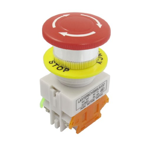 uxcell Red Mushroom Cap 1NO 1NC Emergency Stop Push Button Switch AC 660V 10A (Switch Stop Button Push)