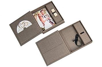Tissu en lin gris Mariage USB aubewarungs Bo/îte avec photo Box Sans Cl/é USB