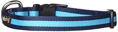 fabdog Durable Classic Stripe Dog Collar, Made from 100% Recycled Materials (Small, Blue)