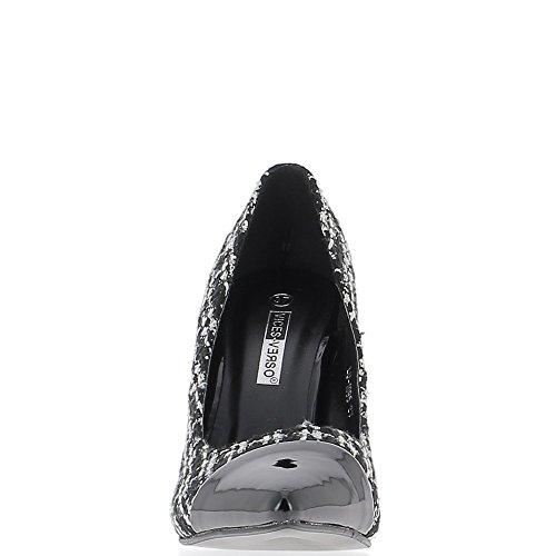 Escarpins noirs pointus à talon fin 10,5 cm bi matière