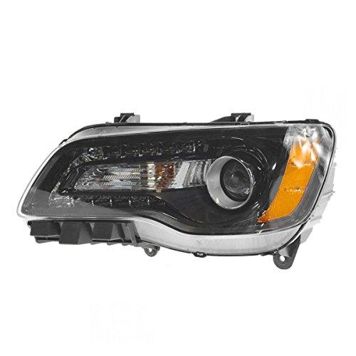 (Headlight Halogen Black Bezel Driver Side Left LH for 11-14 Chrysler 300)