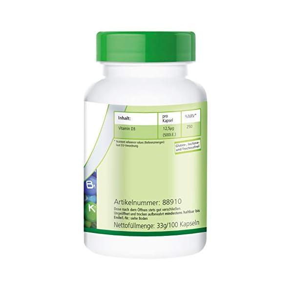 Vitamine D3 500 UI – boite de 100 jours – Fortement dosé – 100 caps – cholécalciférol