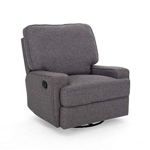 Christopher Knight Home 307572 Sibyl Glider Recliner with Swivel, Charcoal Tweed + Black
