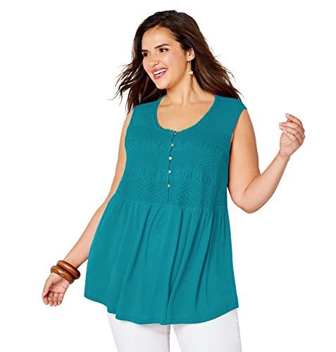 Avenue Women's Smocked Tank Top, 18/20 Aqua