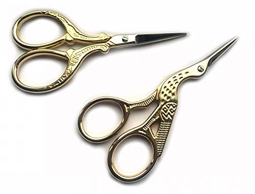 TWO High Quality 3.5 Inch Gold Plated Stainless Steel Scissors for Embroidery, Sewing, Craft, Art Work & Everyday Use – Ideal as a Gift
