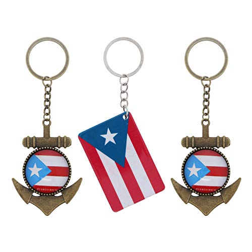 Puerto Rico Keychains - Set of 3-2 Anchor 1 Flag