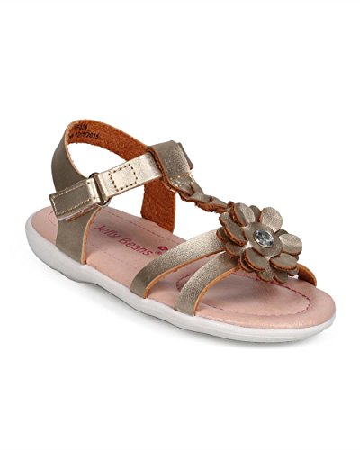 EC25 Metallic Open Toe Braided T-Strap Velcro Sandal (Toddler/ Little Girl) - Gold (Size: Toddler 6) (Flatform Jelly Sandals compare prices)