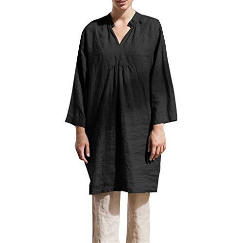 LENXH Solid Color Skirt V-Neck Dress Nine-Point Sleeve Skirt Fashion Casual Skirt Loose Dress Black