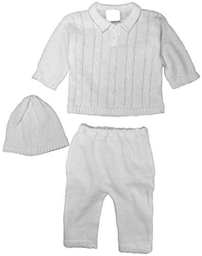Cotton Knit White Baby Boys 3 Piece Collared Set with Sweater, Pants & Hat 6 MO