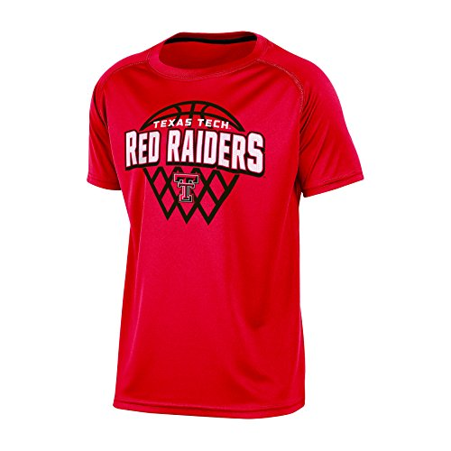 Champion NCAA Texas Tech Red Raiders Boys Short Sleeve Crew Neck Raglan Synthetic T-Shirt, Medium, - Champion Boys Tee Tech