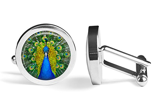 Peacock Cufflinks Peacock Feather Pattern Cuff Links (Angled Edition) -