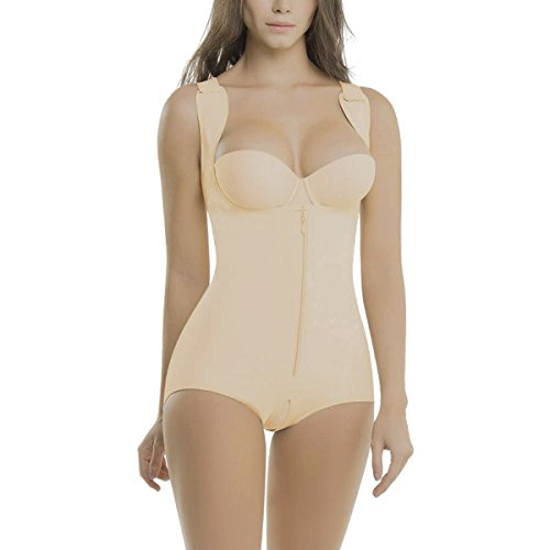 Topmelon Women's Seamless Firm Control Zipper Bodysuit Shaper Smoothing Open Bust Full Body Shapewear with - Firm Bodysuit Classic Control